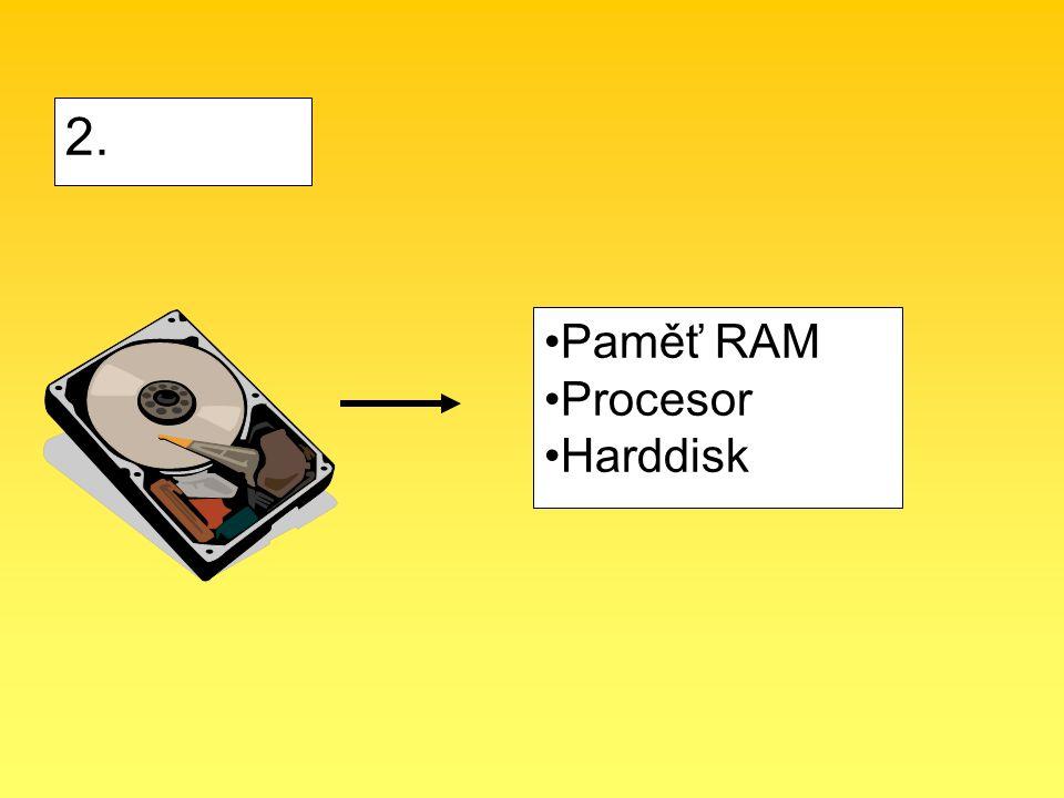 2. Paměť RAM Procesor Harddisk