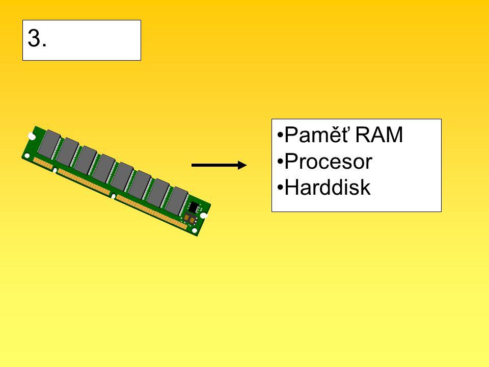 Paměť RAM Procesor Harddisk 3.
