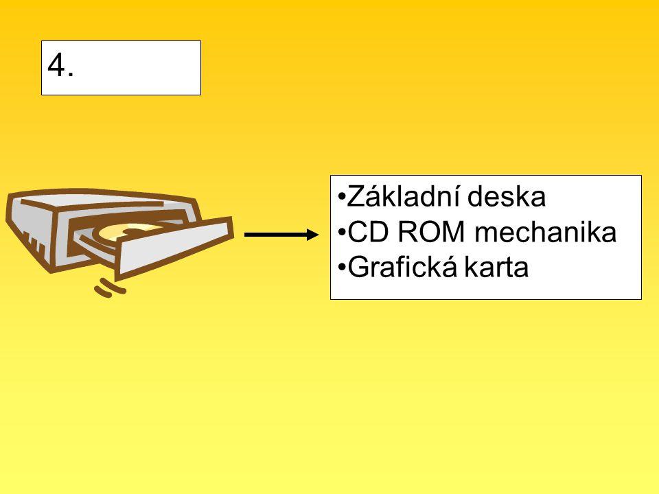 Základní deska CD ROM mechanika Grafická karta 4.