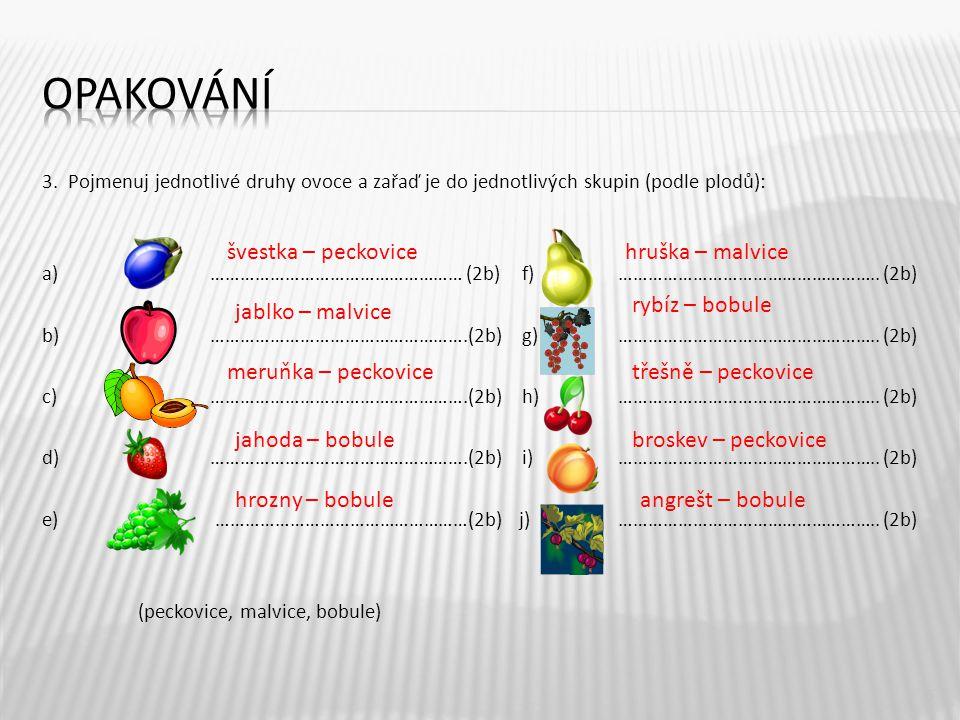 3. Pojmenuj jednotlivé druhy ovoce a zařaď je do jednotlivých skupin (podle plodů): a) …………………………………………… (2b)f)…………………………………………….. (2b) b) ……………………………