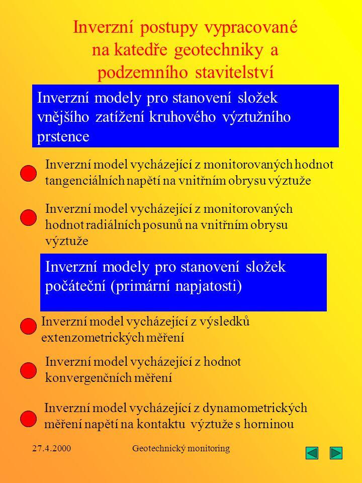 27.4.2000Geotechnický monitoring Analytické výpočetní metody, z nichž dále vycházejí příslušné inverzní výpočetní postupy, byly rozpracovány pro násle