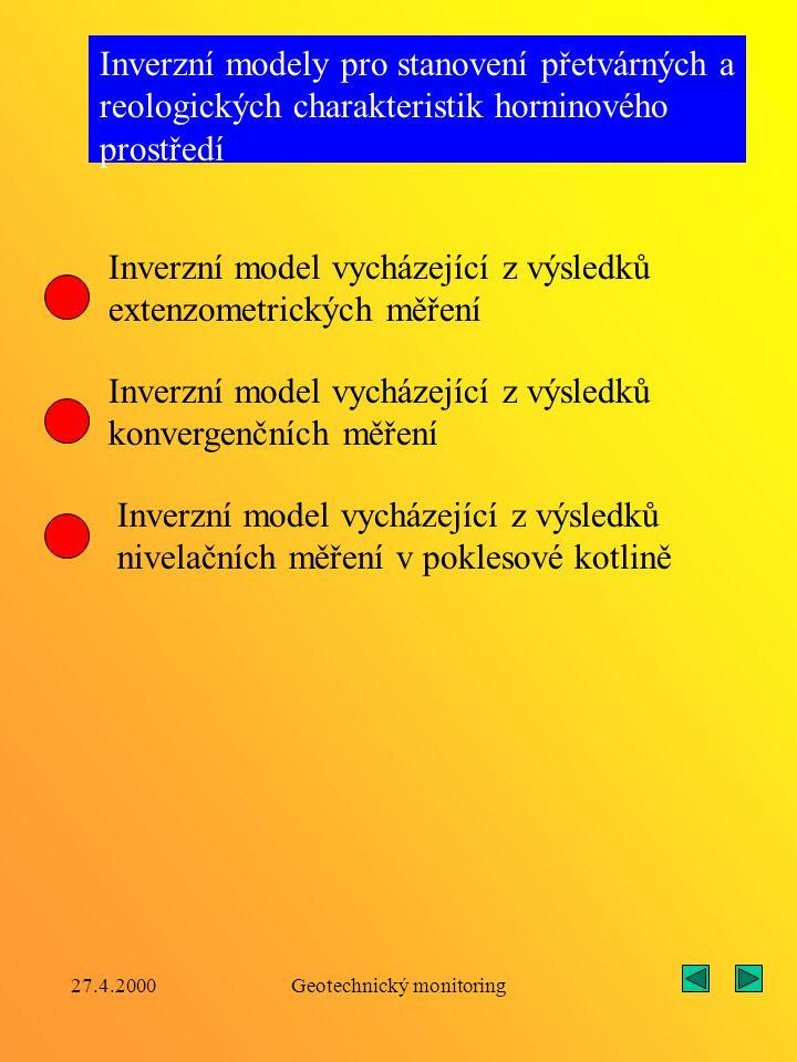 27.4.2000Geotechnický monitoring Inverzní postupy vypracované na katedře geotechniky a podzemního stavitelství Inverzní modely pro stanovení složek vnějšího zatížení kruhového výztužního prstence Inverzní modely pro stanovení složek počáteční (primární napjatosti) Inverzní model vycházející z monitorovaných hodnot tangenciálních napětí na vnitřním obrysu výztuže Inverzní model vycházející z monitorovaných hodnot radiálních posunů na vnitřním obrysu výztuže Inverzní model vycházející z výsledků extenzometrických měření Inverzní model vycházející z hodnot konvergenčních měření Inverzní model vycházející z dynamometrických měření napětí na kontaktu výztuže s horninou