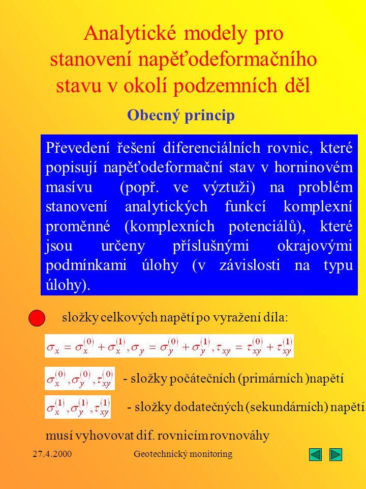 27.4.2000Geotechnický monitoring Analytický model pro stanovení napětí a deformací ve vícevrstvé kruhové výztuži Základní zatěžovací schéma: p 0 - rad