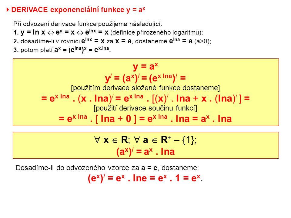  DERIVACE exponenciální funkce y = a x Při odvození derivace funkce použijeme následující: 1. y = ln x  e y = x  e lnx = x (definice přirozeného lo