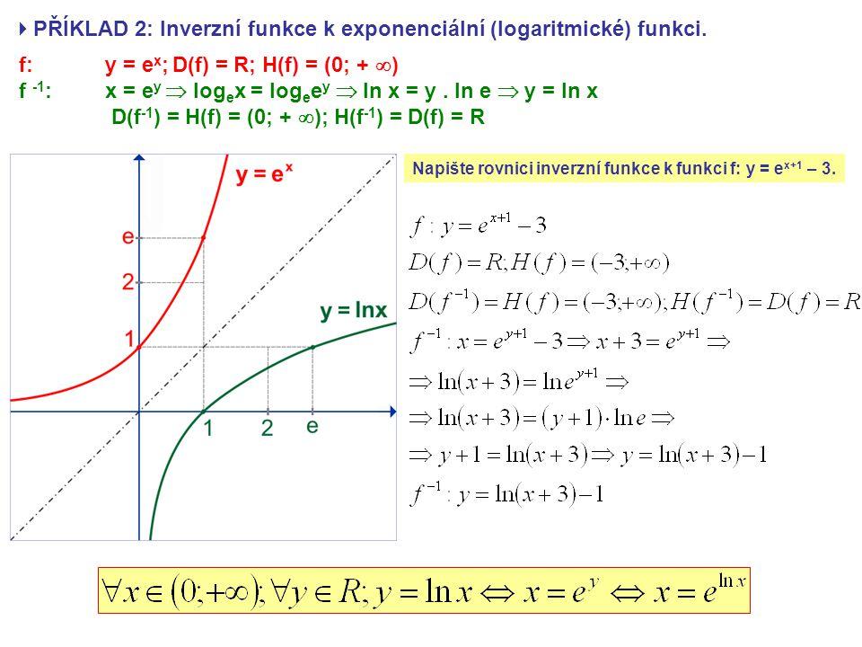  PŘÍKLAD 2: Inverzní funkce k exponenciální (logaritmické) funkci. f: y = e x ; D(f) = R; H(f) = (0; +  ) f -1 : x = e y  log e x = log e e y  ln