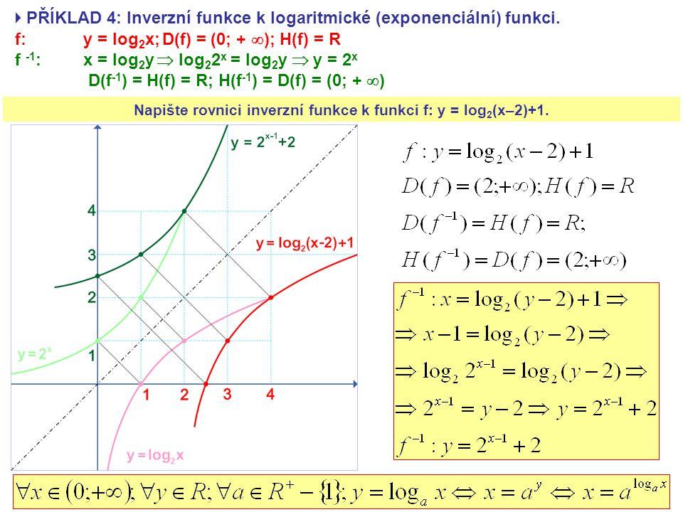  PŘÍKLAD 4: Inverzní funkce k logaritmické (exponenciální) funkci. f: y = log 2 x; D(f) = (0; +  ); H(f) = R f -1 : x = log 2 y  log 2 2 x = log 2