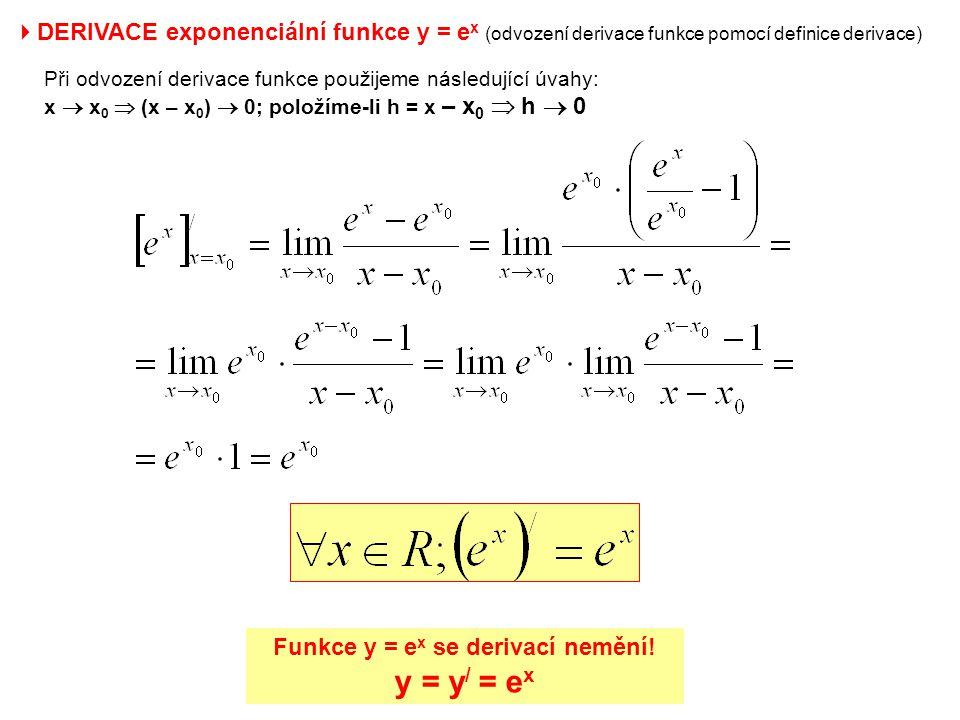  DERIVACE exponenciální funkce y = e x (odvození derivace funkce pomocí definice derivace) Při odvození derivace funkce použijeme následující úvahy: