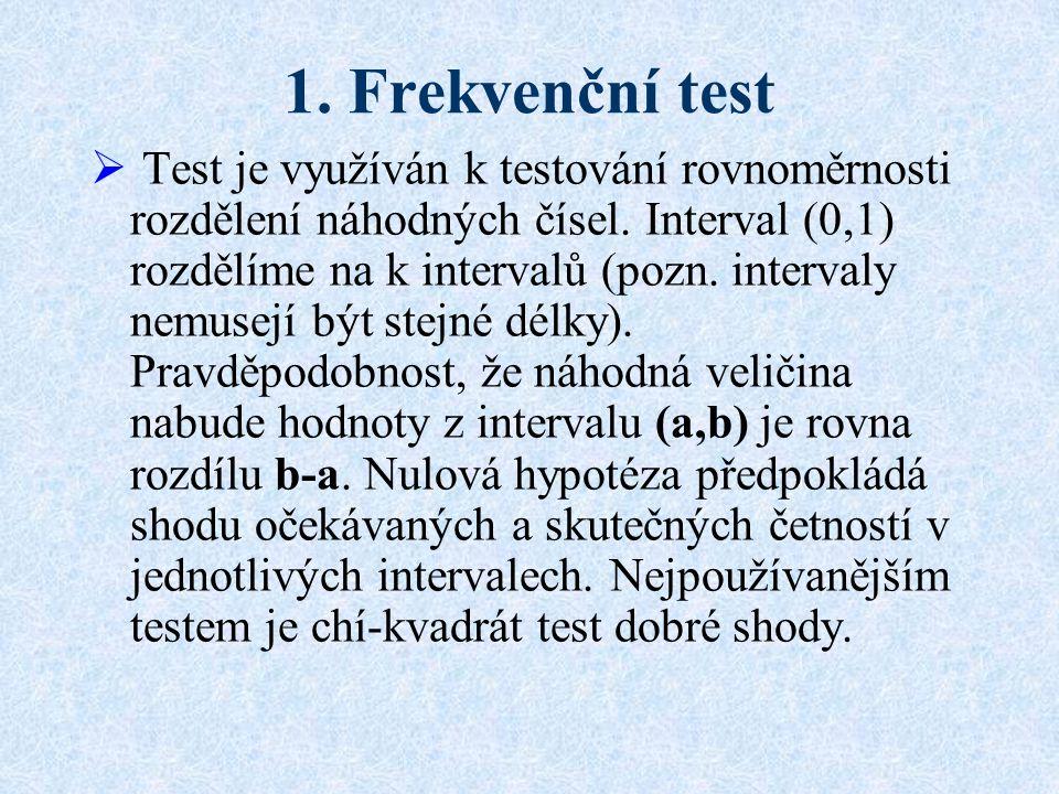 1.Frekvenční test  Test je využíván k testování rovnoměrnosti rozdělení náhodných čísel.