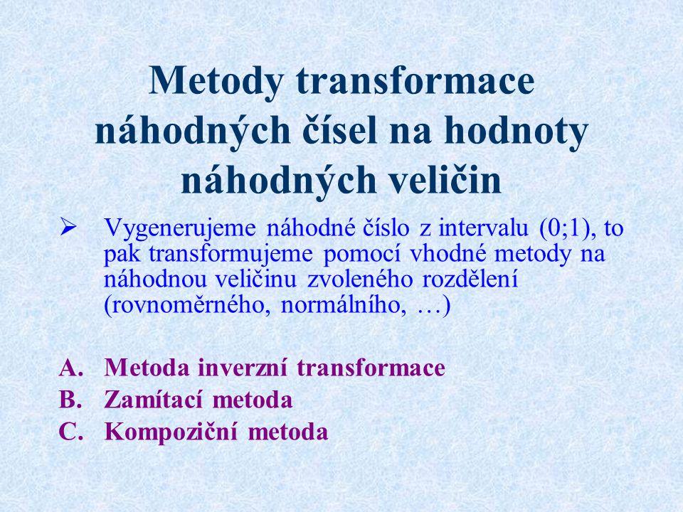 Metody transformace náhodných čísel na hodnoty náhodných veličin  Vygenerujeme náhodné číslo z intervalu (0;1), to pak transformujeme pomocí vhodné metody na náhodnou veličinu zvoleného rozdělení (rovnoměrného, normálního, …) A.Metoda inverzní transformace B.Zamítací metoda C.Kompoziční metoda