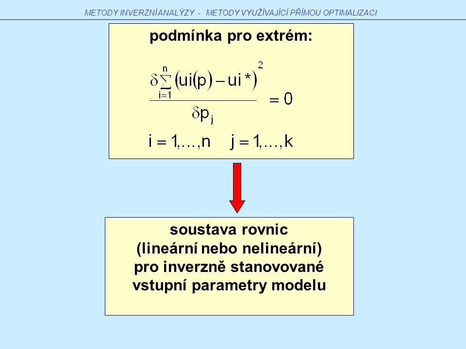 soustava rovnic (lineární nebo nelineární) pro inverzně stanovované vstupní parametry modelu podmínka pro extrém: METODY INVERZNÍ ANALÝZY - METODY VYUŽÍVAJÍCÍ PŘÍMOU OPTIMALIZACI