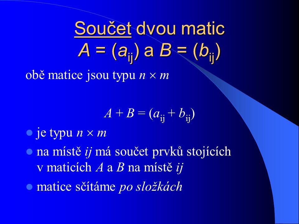 Jednotkov á matice řádu n matice E = (  ij ), kde  ij = 1pro i, j = 1, …, n, i = j  ij = 0pro i, j = 1, …, n, i  j E =