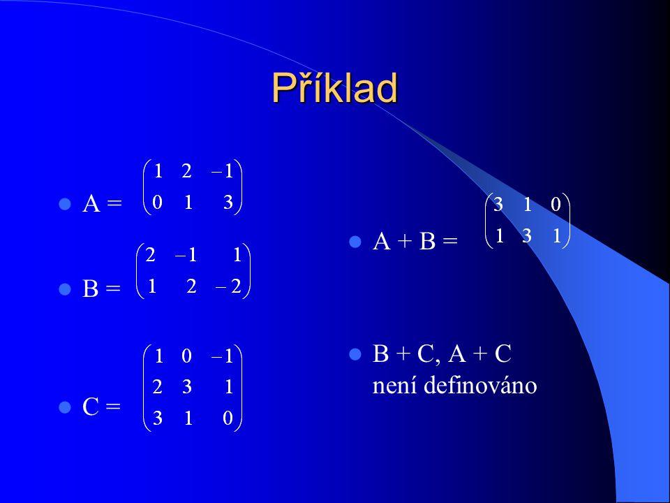 Součin matic A, B (v tomto pořadí) A = (a is ) je matice typu n  m B = (b sj ) matice typu m  k AB = typu n  k na místě ij je skalární součin i-tého řádku matice A a j-tého sloupce matice B řádky matice A mají stejný počet prvků jako sloupce matice B (m)
