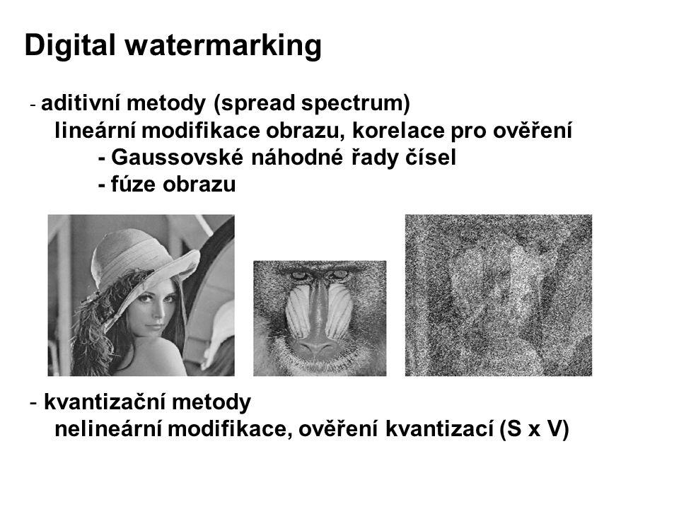 - aditivní metody (spread spectrum) lineární modifikace obrazu, korelace pro ověření - Gaussovské náhodné řady čísel - fúze obrazu - kvantizační metody nelineární modifikace, ověření kvantizací (S x V) Digital watermarking