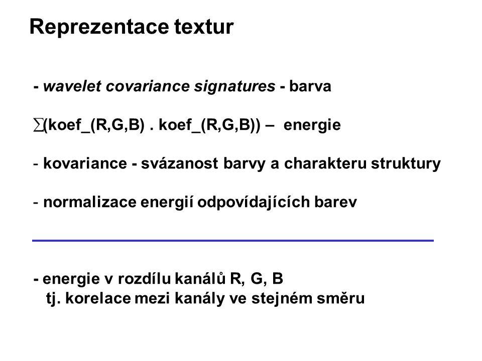 Reprezentace textur - wavelet covariance signatures - barva  (koef_(R,G,B).