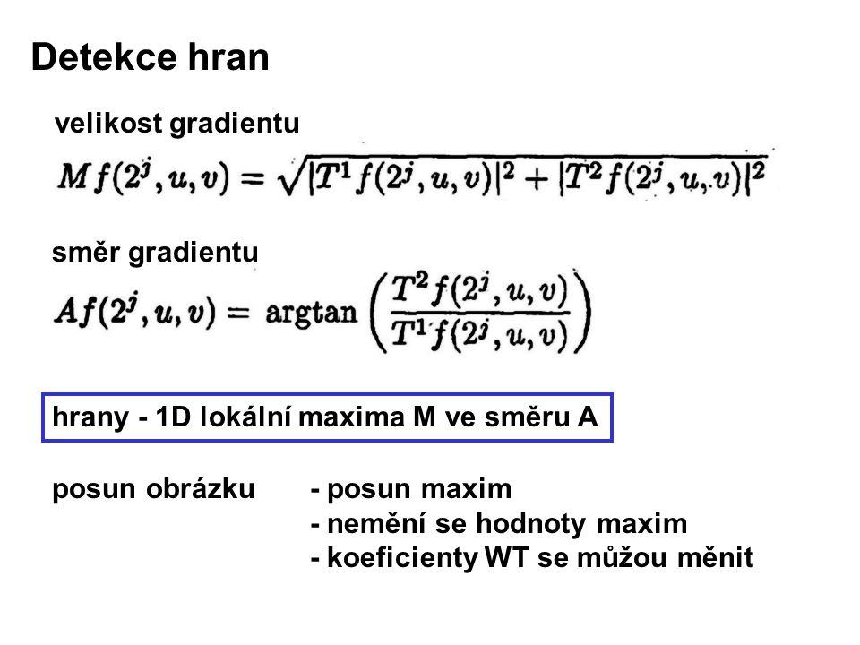 hrany - 1D lokální maxima M ve směru A posun obrázku - posun maxim - nemění se hodnoty maxim - koeficienty WT se můžou měnit Detekce hran velikost gradientu směr gradientu