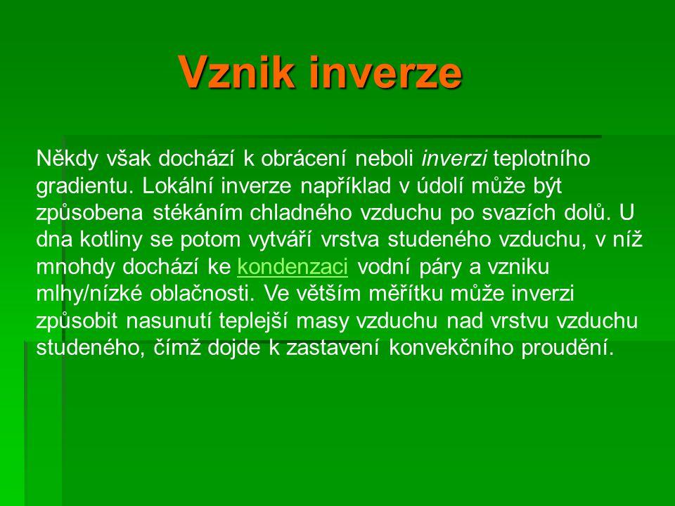 Důsledky inverze Důsledky inverze  Notoricky známým důsledkem inverze je velká koncentrace škodlivin z výfuků a komínů v nehybné přízemní vrstvě vzduchu.