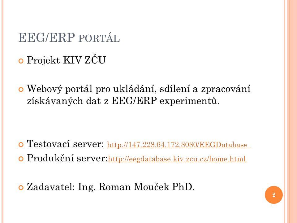 EEG/ERP PORTÁL Projekt KIV ZČU Webový portál pro ukládání, sdílení a zpracování získávaných dat z EEG/ERP experimentů.