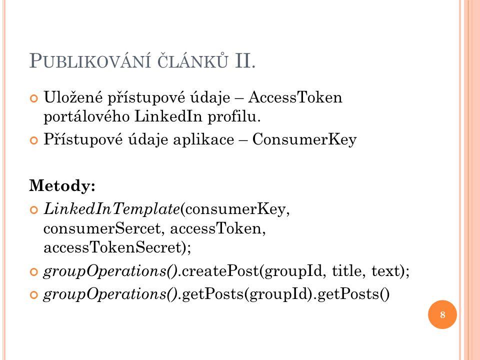 P UBLIKOVÁNÍ ČLÁNKŮ II. Uložené přístupové údaje – AccessToken portálového LinkedIn profilu.