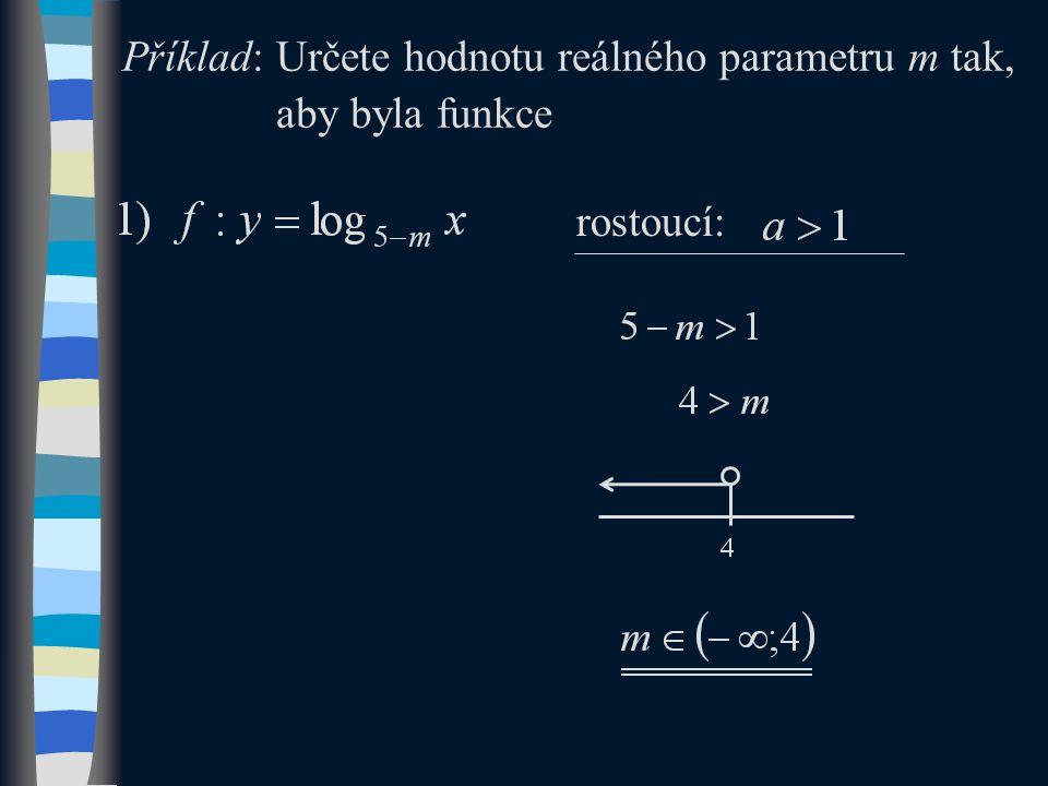 Příklad: Určete hodnotu reálného parametru m tak, aby byla funkce rostoucí: