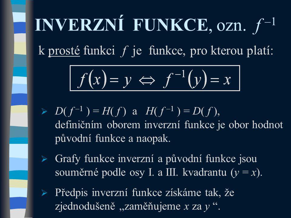 INVERZNÍ FUNKCE, ozn. f –1 k prosté funkci f je funkce, pro kterou platí:  D( f –1 ) = H( f ) a H( f –1 ) = D( f ), definičním oborem inverzní funkce
