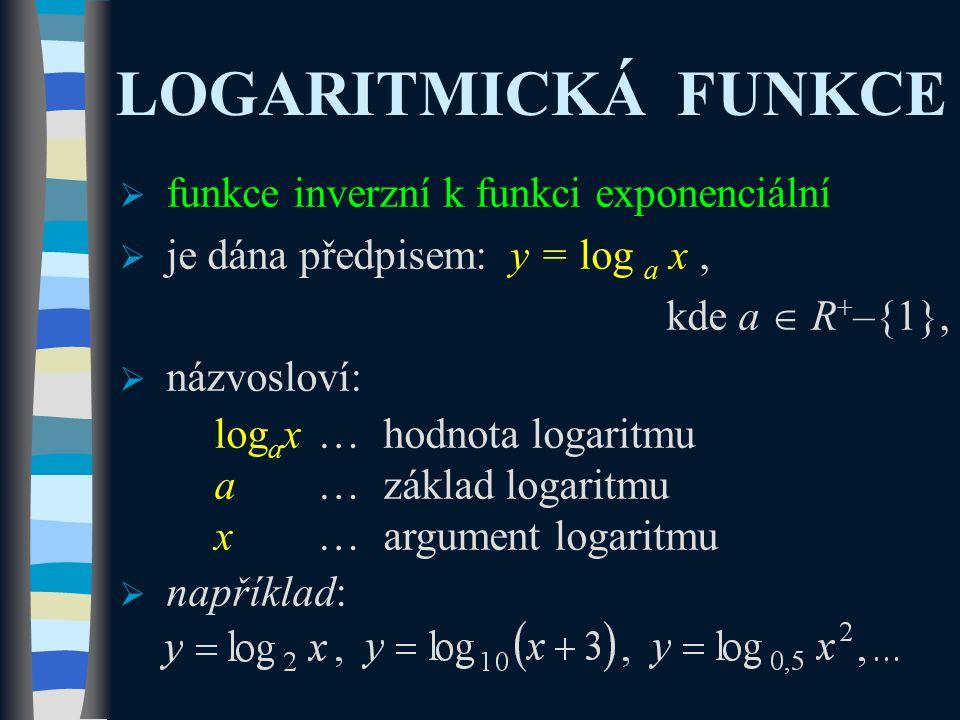 LOGARITMICKÁ FUNKCE  funkce inverzní k funkci exponenciální  je dána předpisem: y = log a x, kde a  R + –{1},  názvosloví: log a x…hodnota logaritmu a…základ logaritmu x…argument logaritmu  například: