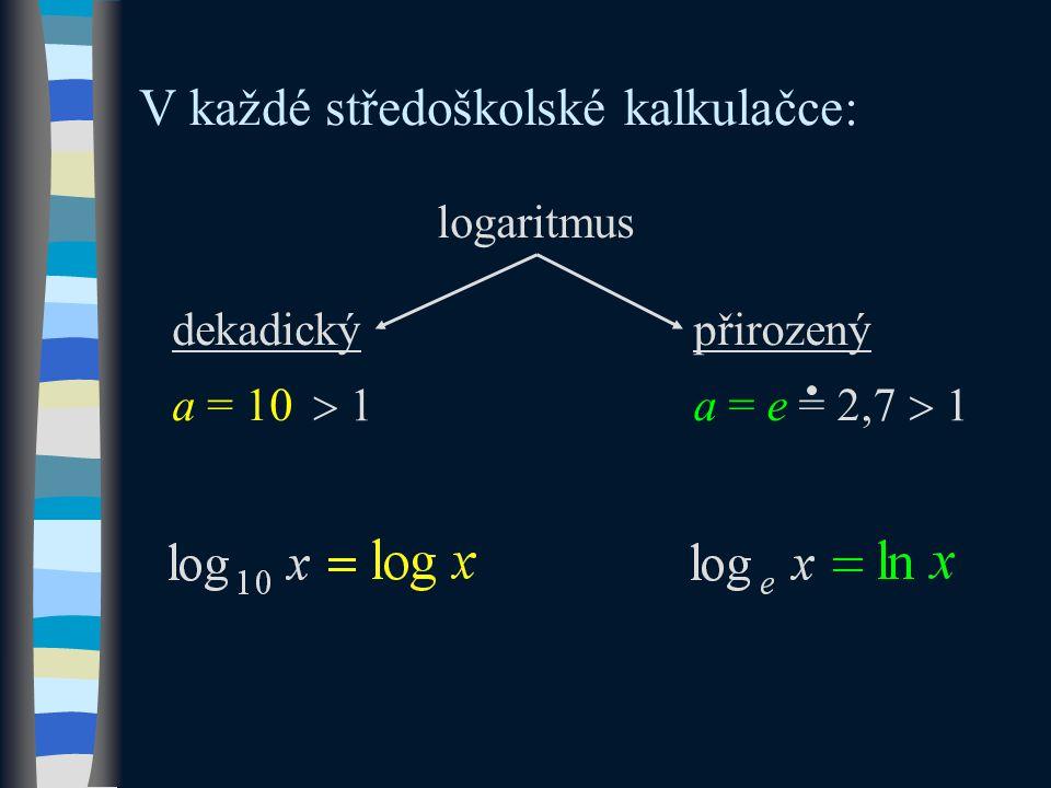 a = 10 V každé středoškolské kalkulačce: a = e = 2,7 logaritmus dekadickýpřirozený  1