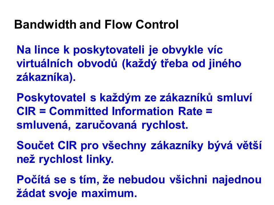 Bandwidth and Flow Control Na lince k poskytovateli je obvykle víc virtuálních obvodů (každý třeba od jiného zákazníka).
