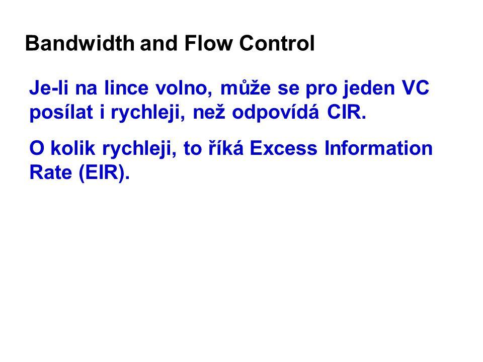 Bandwidth and Flow Control Je-li na lince volno, může se pro jeden VC posílat i rychleji, než odpovídá CIR.
