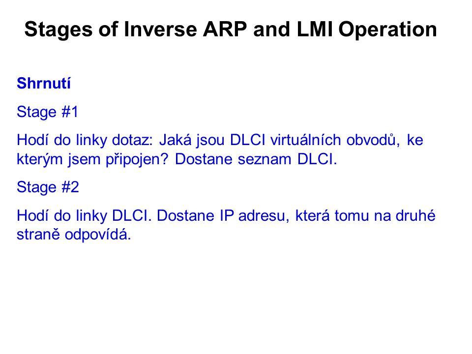 Stages of Inverse ARP and LMI Operation Shrnutí Stage #1 Hodí do linky dotaz: Jaká jsou DLCI virtuálních obvodů, ke kterým jsem připojen.