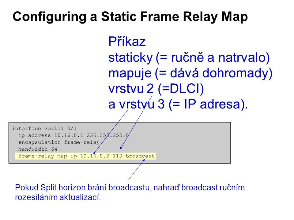 Configuring a Static Frame Relay Map Příkaz staticky (= ručně a natrvalo) mapuje (= dává dohromady) vrstvu 2 (=DLCI) a vrstvu 3 (= IP adresa).