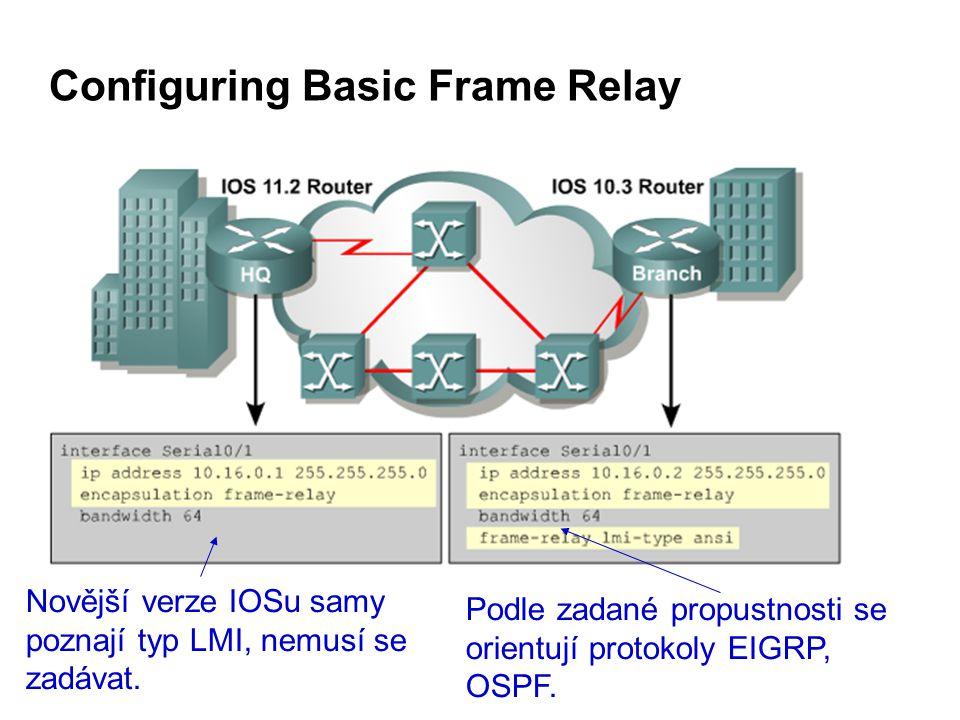 Configuring Basic Frame Relay Novější verze IOSu samy poznají typ LMI, nemusí se zadávat.