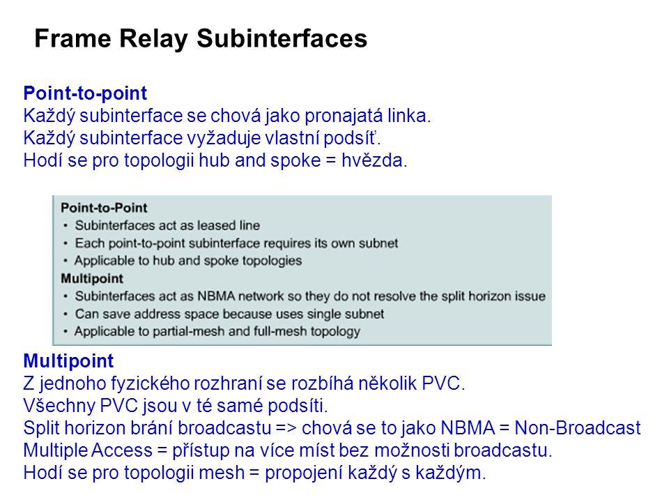 Frame Relay Subinterfaces Point-to-point Každý subinterface se chová jako pronajatá linka.