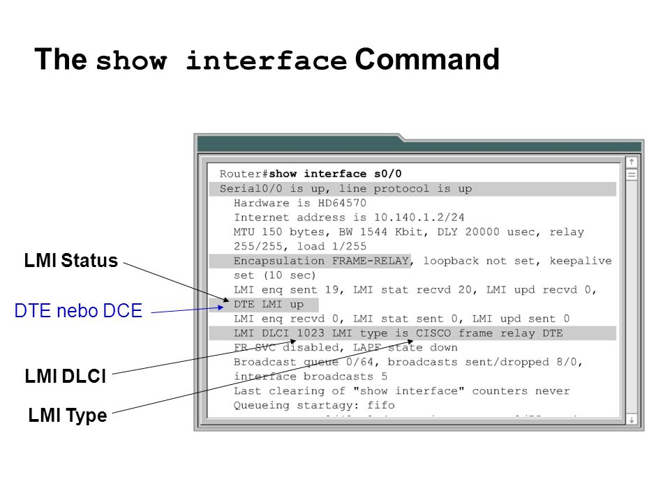 The show interface Command LMI Type LMI DLCI LMI Status DTE nebo DCE