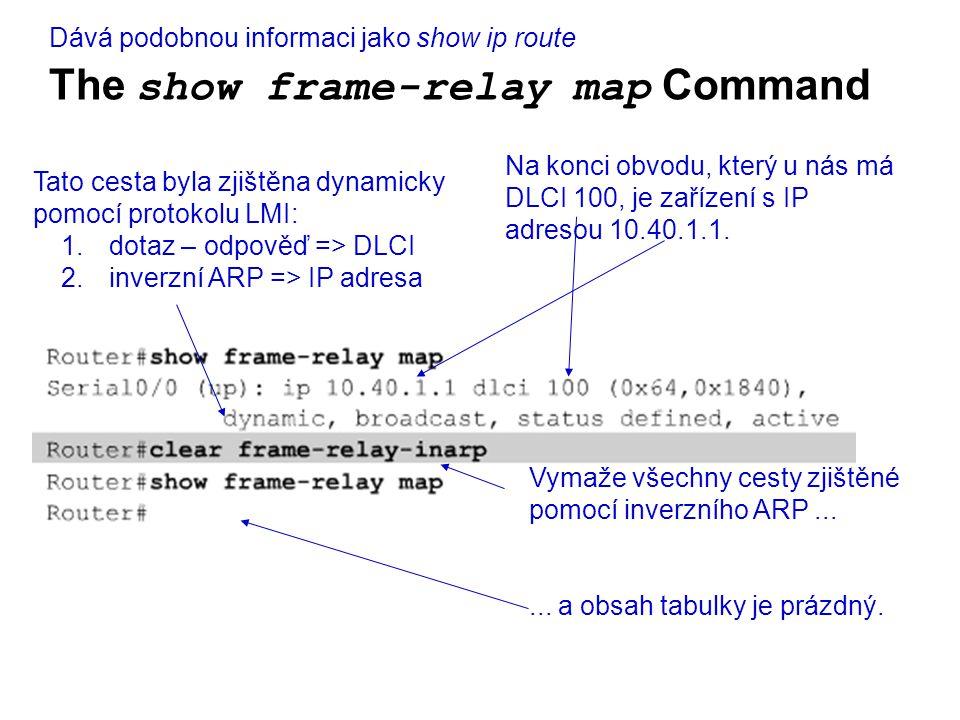 The show frame-relay map Command Na konci obvodu, který u nás má DLCI 100, je zařízení s IP adresou 10.40.1.1.