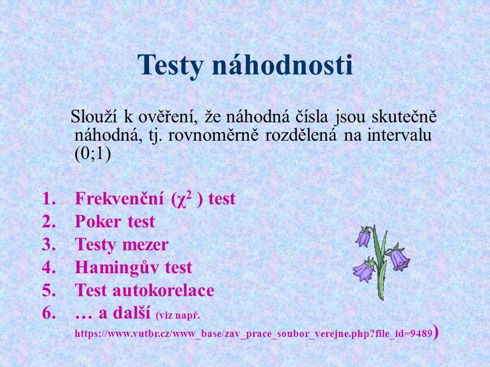 Testy náhodnosti Slouží k ověření, že náhodná čísla jsou skutečně náhodná, tj. rovnoměrně rozdělená na intervalu (0;1) 1.Frekvenční (χ 2 ) test 2.Poke