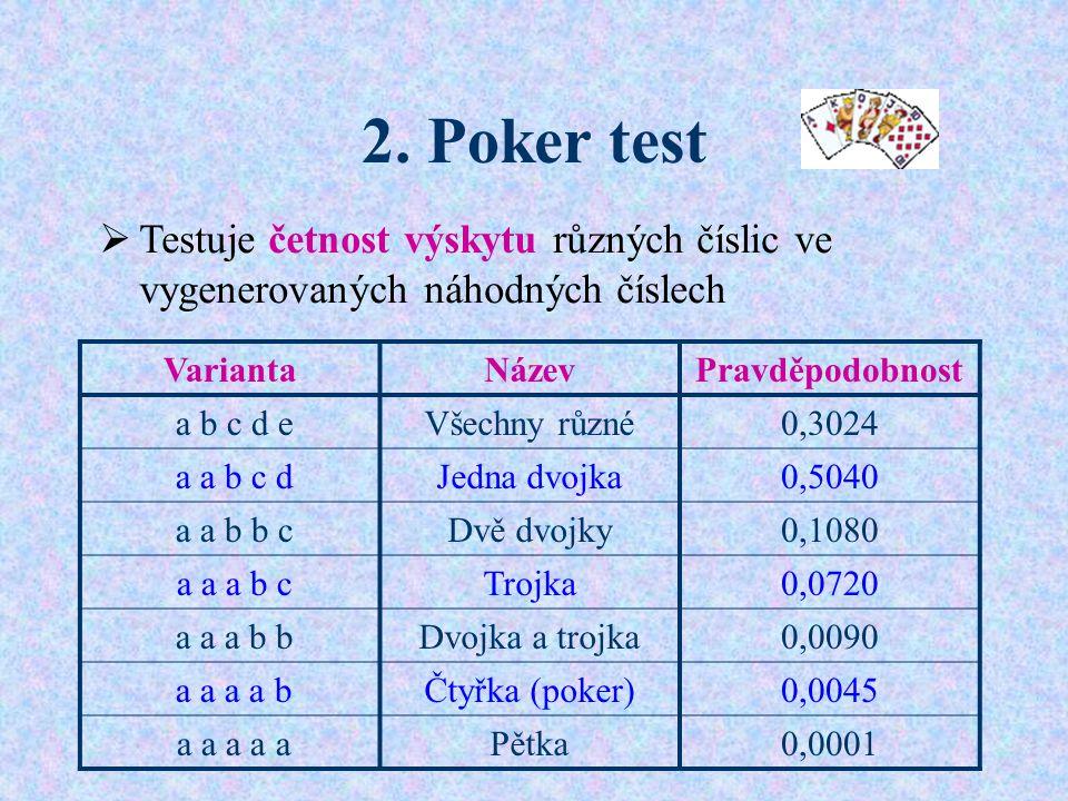 2. Poker test  Testuje četnost výskytu různých číslic ve vygenerovaných náhodných číslech VariantaNázevPravděpodobnost a b c d eVšechny různé0,3024 a