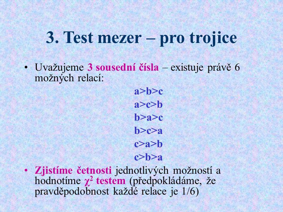 3. Test mezer – pro trojice Uvažujeme 3 sousední čísla – existuje právě 6 možných relací: a>b>c a>c>b b>a>c b>c>a c>a>b c>b>a Zjistíme četnosti jednot