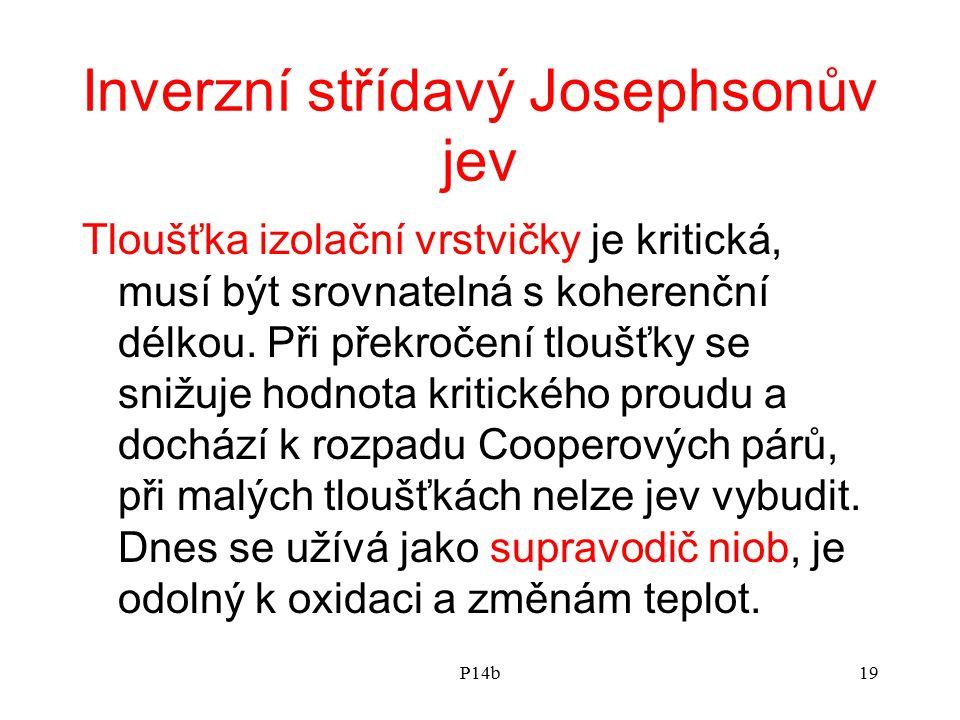 P14b19 Inverzní střídavý Josephsonův jev Tloušťka izolační vrstvičky je kritická, musí být srovnatelná s koherenční délkou. Při překročení tloušťky se