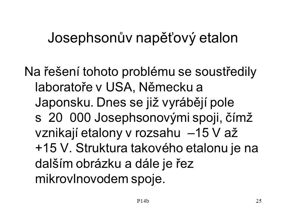 P14b25 Josephsonův napěťový etalon Na řešení tohoto problému se soustředily laboratoře v USA, Německu a Japonsku. Dnes se již vyrábějí pole s 20 000 J