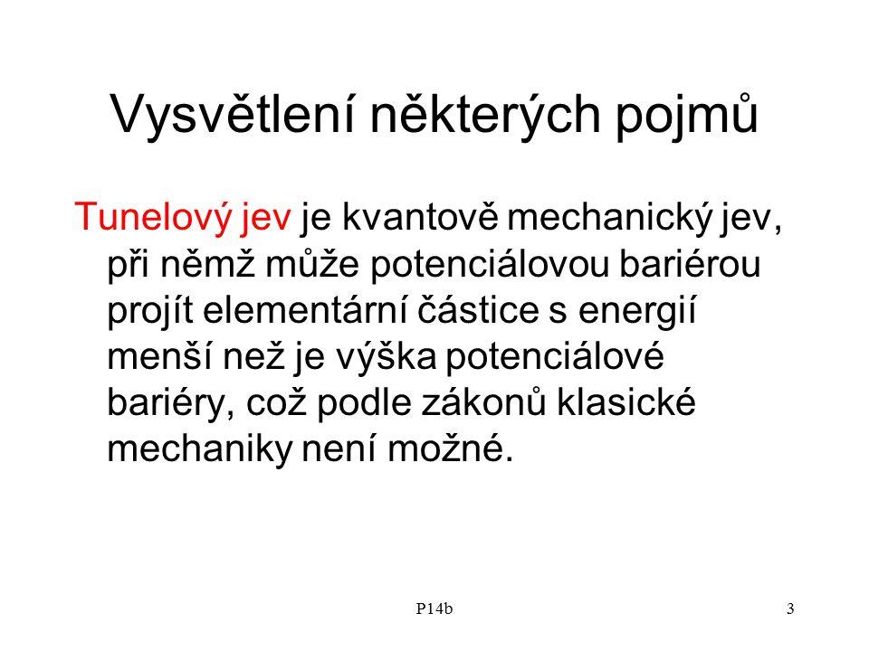 P14b3 Vysvětlení některých pojmů Tunelový jev je kvantově mechanický jev, při němž může potenciálovou bariérou projít elementární částice s energií menší než je výška potenciálové bariéry, což podle zákonů klasické mechaniky není možné.