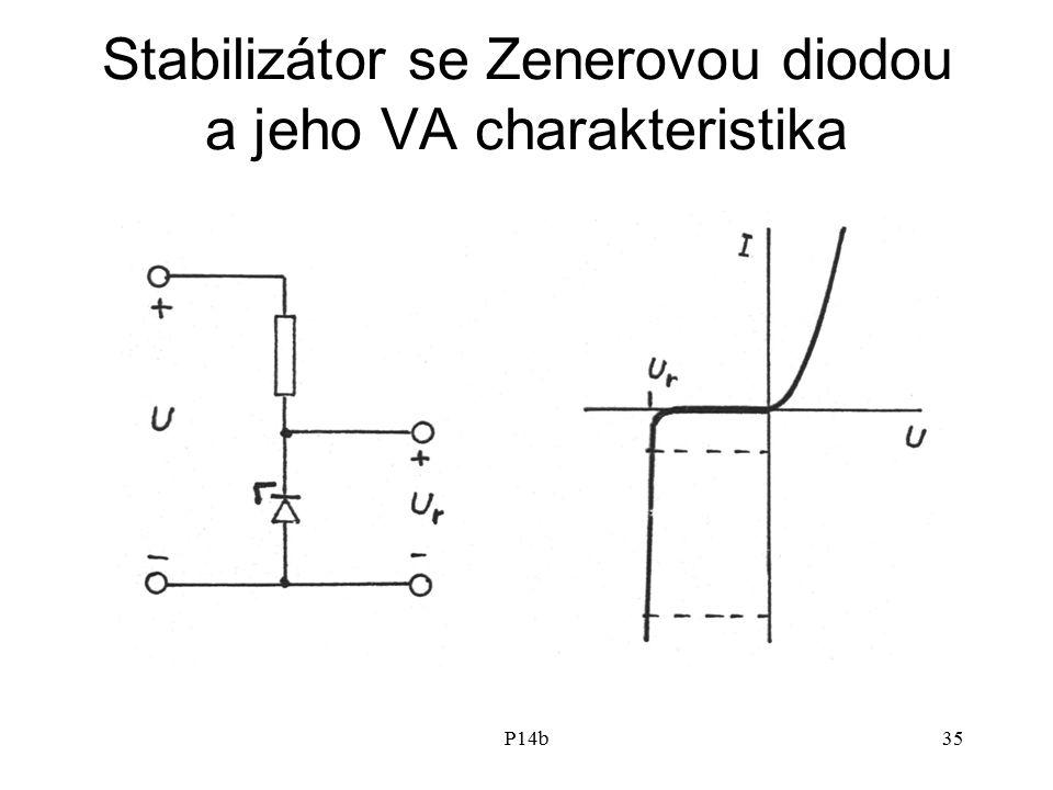 P14b35 Stabilizátor se Zenerovou diodou a jeho VA charakteristika