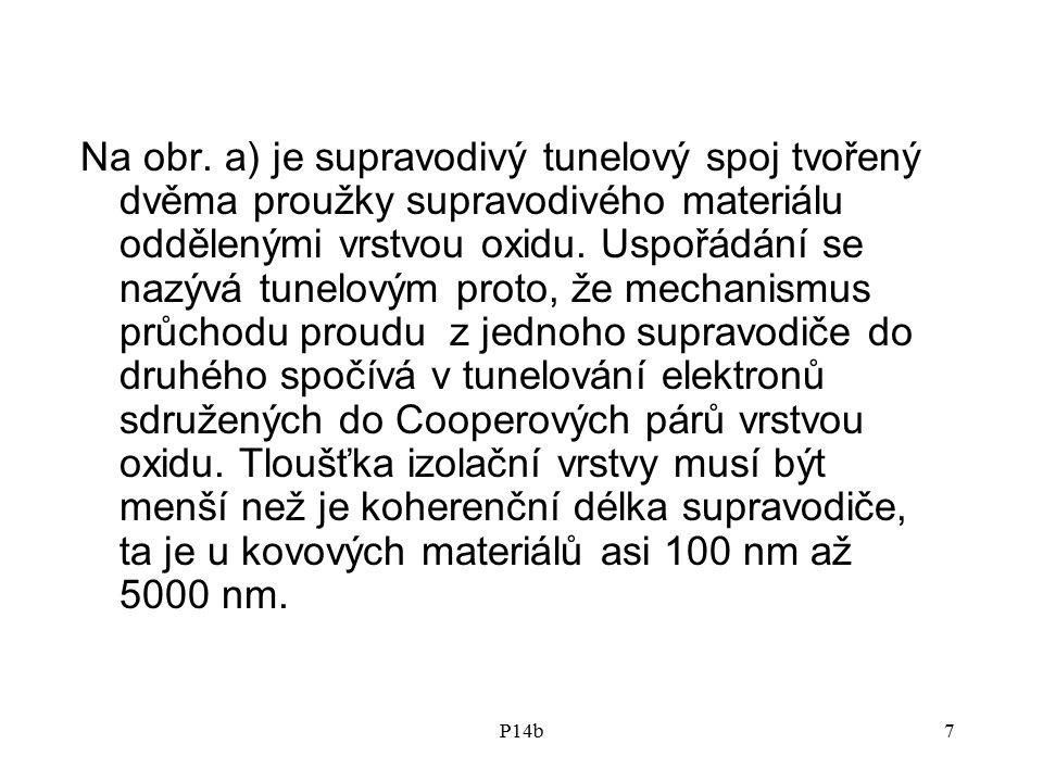 P14b7 Na obr. a) je supravodivý tunelový spoj tvořený dvěma proužky supravodivého materiálu oddělenými vrstvou oxidu. Uspořádání se nazývá tunelovým p