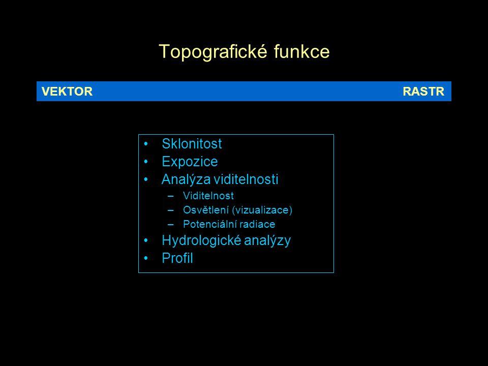 Topografické funkce Sklonitost Expozice Analýza viditelnosti –Viditelnost –Osvětlení (vizualizace) –Potenciální radiace Hydrologické analýzy Profil VEKTORRASTR