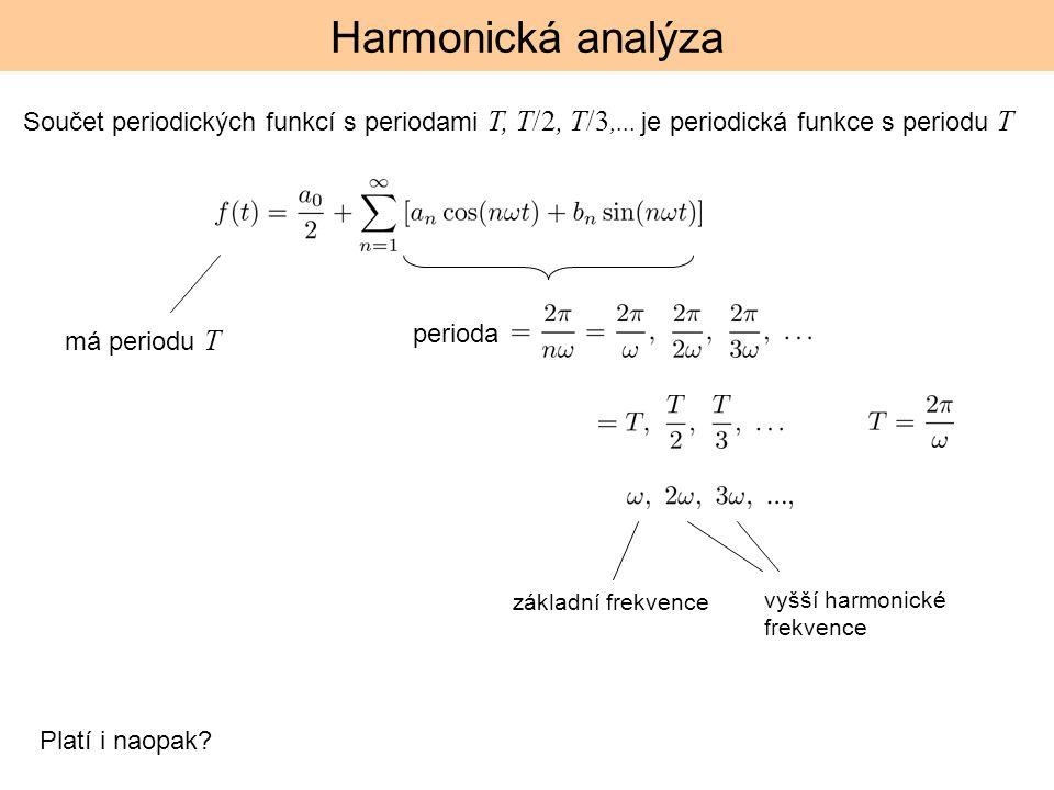 Harmonická analýza Součet periodických funkcí s periodami T, T/2, T/3,... je periodická funkce s periodu T perioda Platí i naopak? základní frekvence