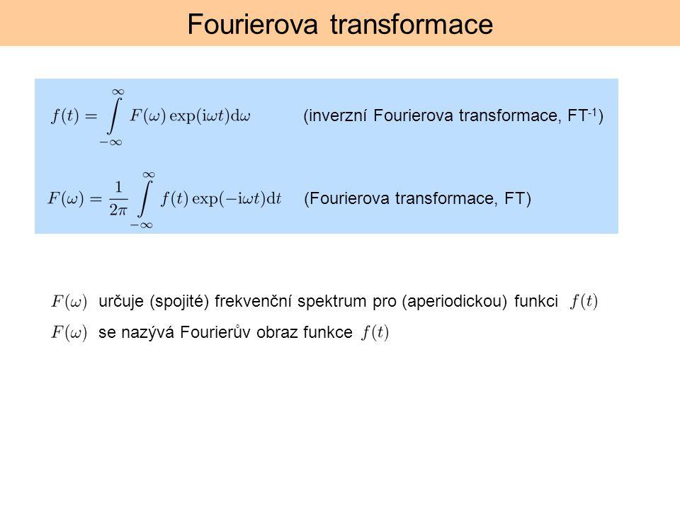 Fourierova transformace určuje (spojité) frekvenční spektrum pro (aperiodickou) funkci se nazývá Fourierův obraz funkce (Fourierova transformace, FT)
