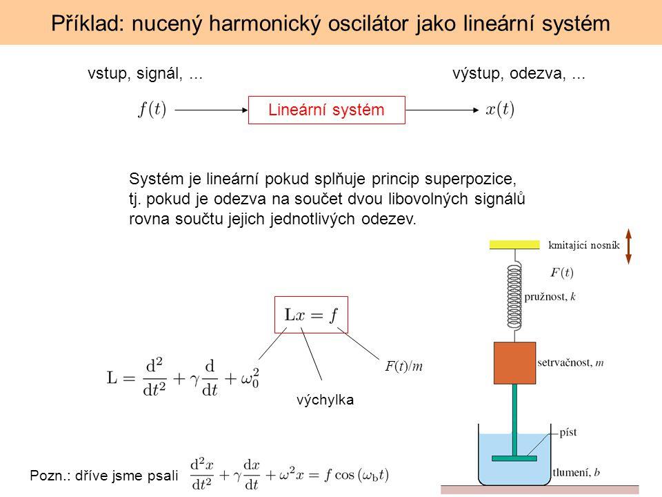 Příklad: nucený harmonický oscilátor jako lineární systém Lineární systém F(t)/m výchylka vstup, signál,...výstup, odezva,... Systém je lineární pokud