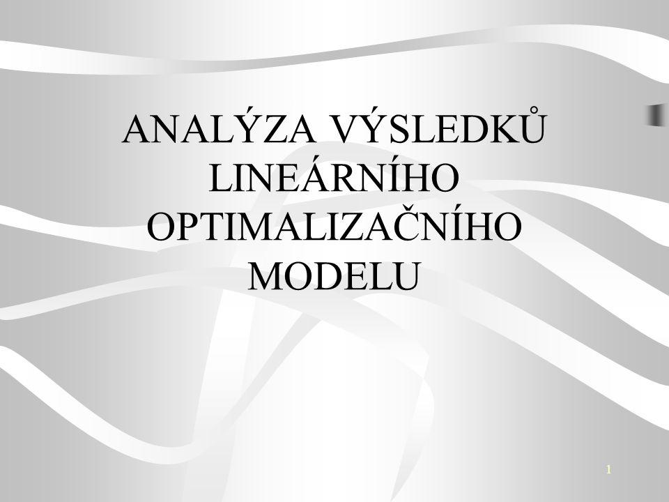 12 Další řešení modelu Interval přípustných hodnot nebázické proměnné x j Test přípustnosti Nové řešení bázické nebo nebázické