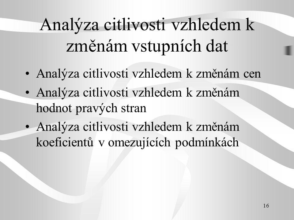 16 Analýza citlivosti vzhledem k změnám vstupních dat Analýza citlivosti vzhledem k změnám cen Analýza citlivosti vzhledem k změnám hodnot pravých stran Analýza citlivosti vzhledem k změnám koeficientů v omezujících podmínkách