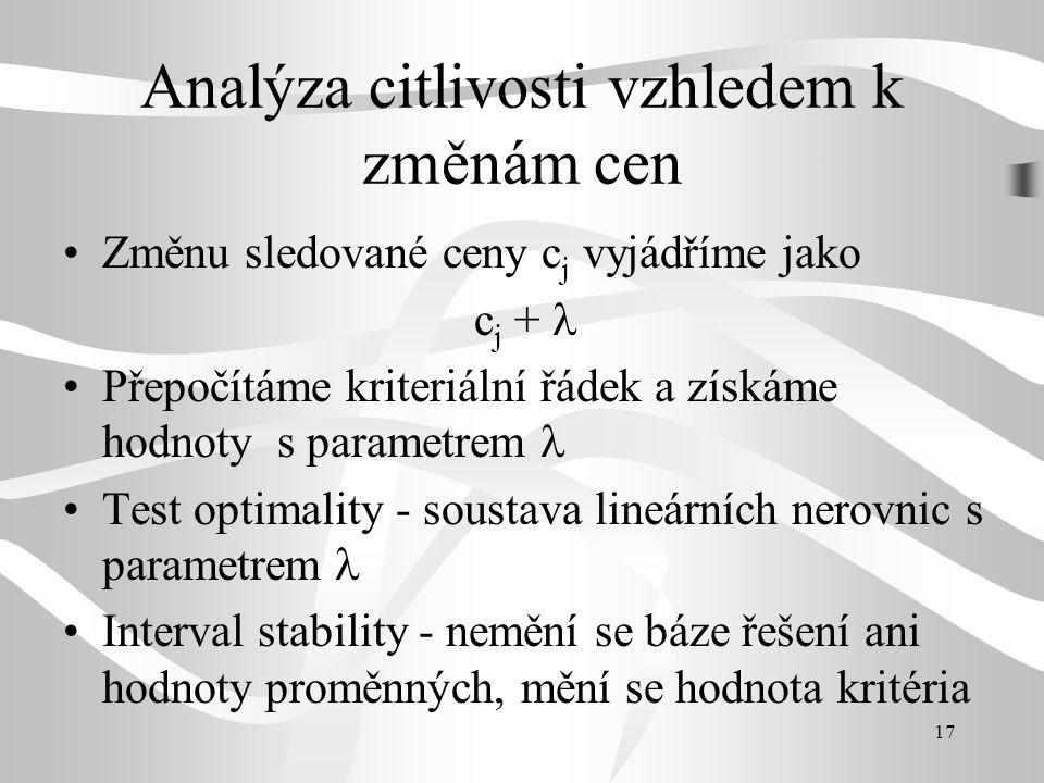 17 Analýza citlivosti vzhledem k změnám cen Změnu sledované ceny c j vyjádříme jako c j + Přepočítáme kriteriální řádek a získáme hodnoty s parametrem Test optimality - soustava lineárních nerovnic s parametrem Interval stability - nemění se báze řešení ani hodnoty proměnných, mění se hodnota kritéria