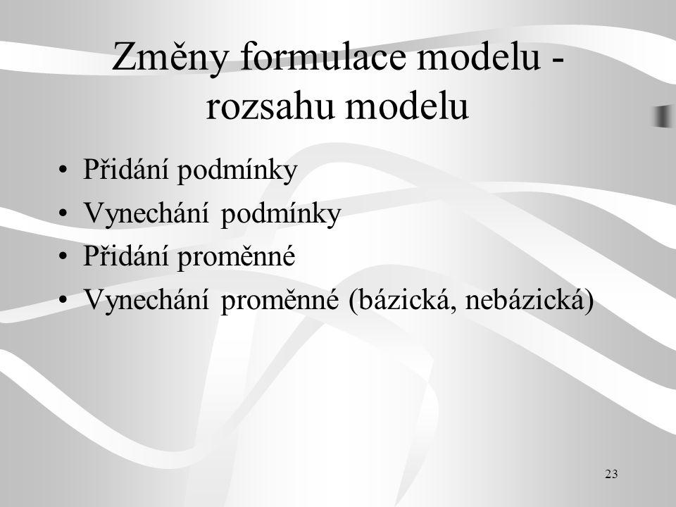 23 Změny formulace modelu - rozsahu modelu Přidání podmínky Vynechání podmínky Přidání proměnné Vynechání proměnné (bázická, nebázická)